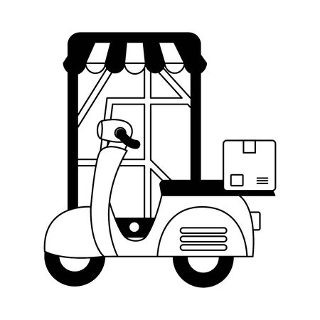 smartphone scooter cardboard box destination fast delivery vector illustration Stock Illustratie