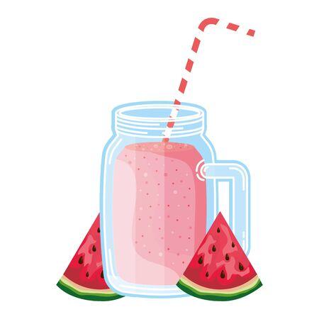 juice watermelon fruit jar with straw vector illustration design Stock Illustratie