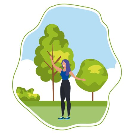 happy young woman celebrating in the park vector illustration design 写真素材 - 129273680