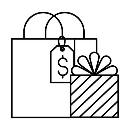 shopping bag and gift tag price vector illustration