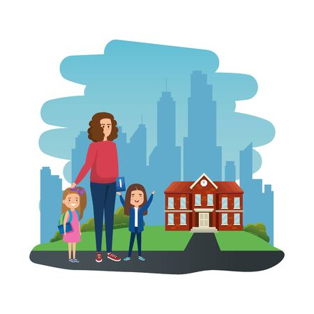 happy students girls with female teacher in school outdoor vector illustration