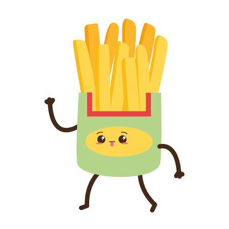 kawaii cartoon french fries character vector illustration design