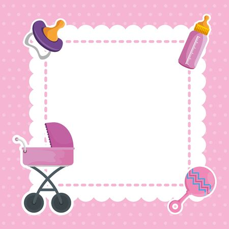 postcard with baby shower set icons vector illustration design  イラスト・ベクター素材