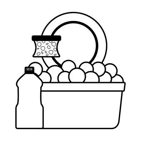 washing bucket sponge soap product spring cleaning tools vector illustration
