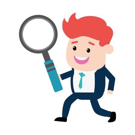 businessman holding magnifier analysis vector illustration design