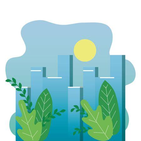 park with cityscape buildings scene vector illustration design Фото со стока - 129271659