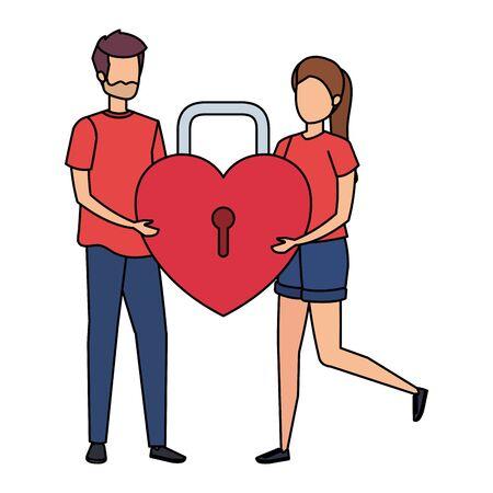 young couple lifting padlock with heart shape vector illustration design Иллюстрация