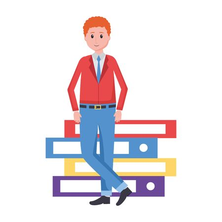man with books stacked literature vector illustration Çizim