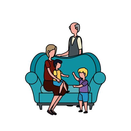 cute grandparents couple with little kids in the sofa vector illustration design Ilustração
