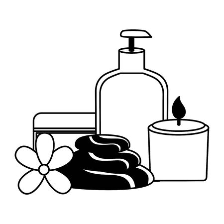 candle stones cosmetics bottle spa treatment therapy vector illustration