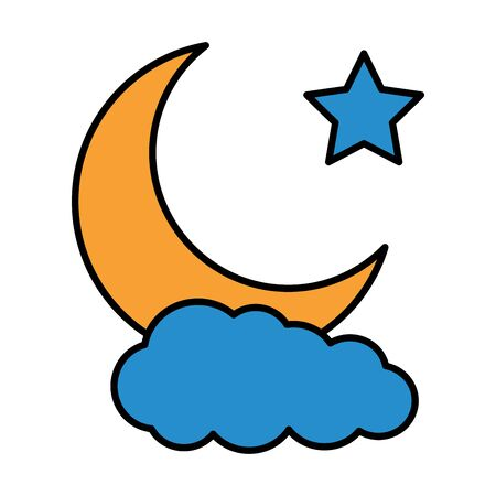 moon star cloud cartoon on white background vector illustration