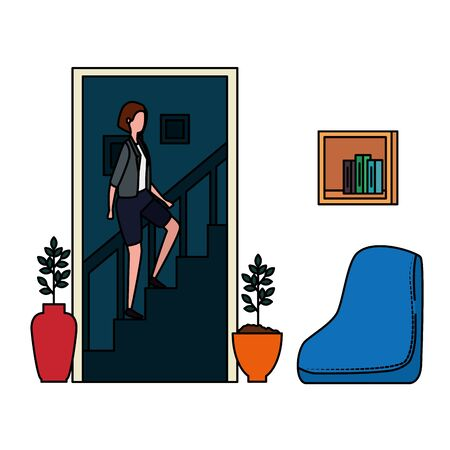 woman climbing the stairs in living room place scene vector illustration design