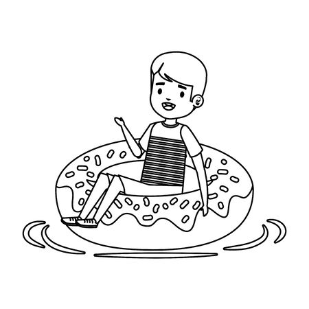 cute little boy with shirt and donut float vector illustration design Standard-Bild - 129362000