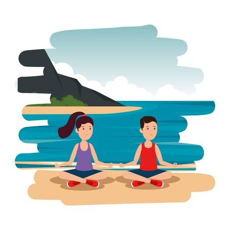 happy athletic boy practicing yoga on the camp vector illustration design
