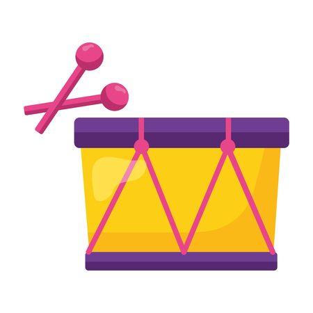 drum and drumsticks kids toy on white background vector illustration Illustration