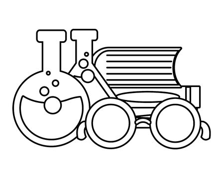 school science glasses books test tubes lab vector illustration design Stock Illustratie