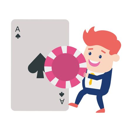man casino card chip gambling vector illustration