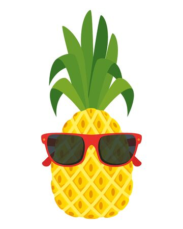 summer fresh fruit pineapple with sunglasses character vector illustration design 일러스트