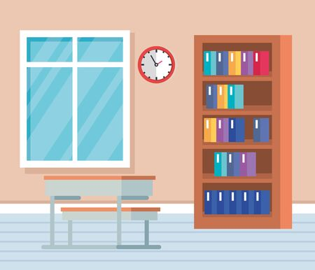 academic classroom with books inside bookcase and desk to school education vector illustration