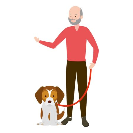 man with his dog vector illustration Reklamní fotografie - 129835600