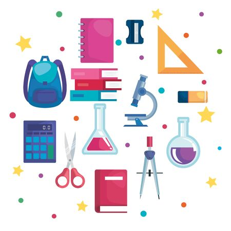 set of school supplies and education elementary to back to school vector illustration