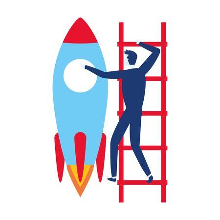 businessman climb ladders rocket business success vector illustration