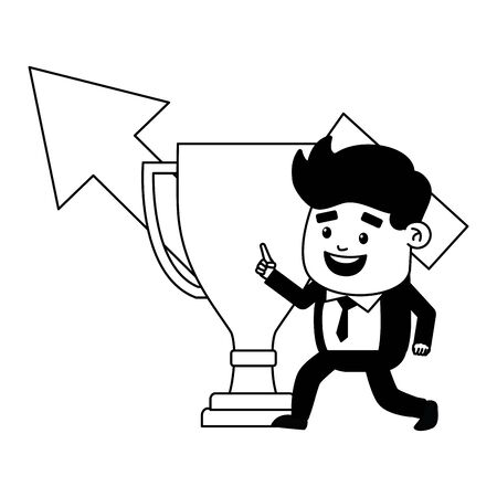 businessman trophy arrow finance growth vector illustration Иллюстрация