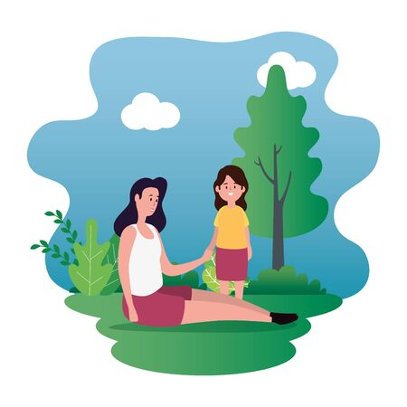 mother with daughter family characters vector illustration design Ilustrace