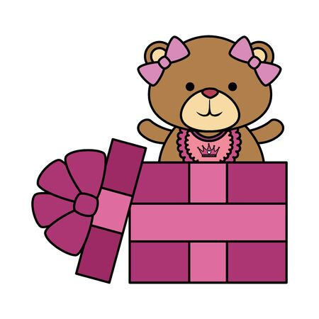 cute bear teddy female with bows in gift vector illustration design