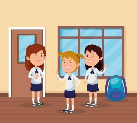 little students girls in the school scene vector illustration design