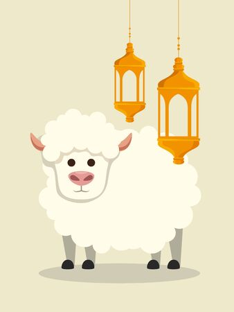 lamps hanging with sheep traditional sacrifice to eid al adha, vector illustration Ilustrace