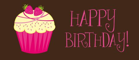 happy birthday with cupcake over brown background. vector Illustration