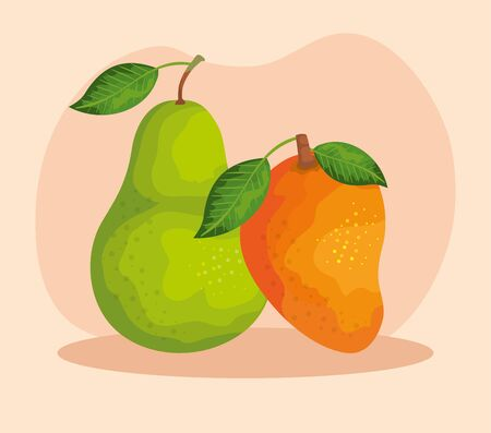 delicios pear and mango fruits with leaves over pink background, vector illustration Illustration
