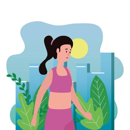young and beautiful woman in the park vector illustration design