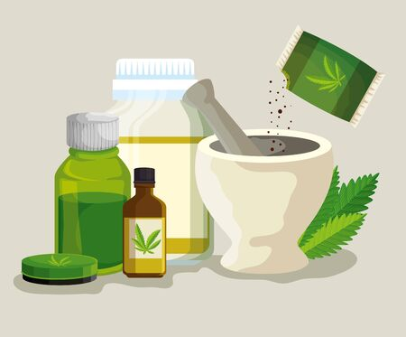cannabis ointment with medicine bottles and stone grinding crusher with seeds vector illustration
