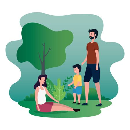 parents couple with little son on the park characters vector illustration design Ilustrace
