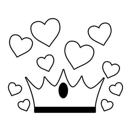 crown love hearts on white background vector illustration