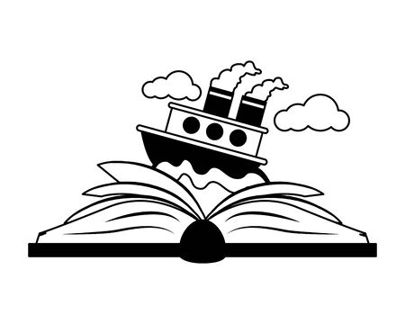 textbook boat in sea world book day vector illustration  イラスト・ベクター素材