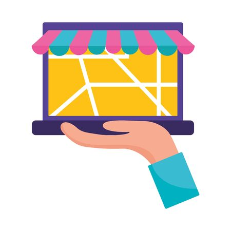 hand with laptop map navigation cargo fast delivery vector illustration
