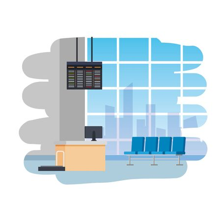 airport check in place with balance and computer scene vector illustration design