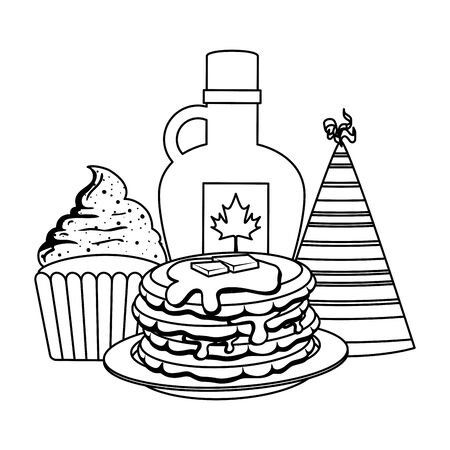 sweet maple syrup bottle with pancake and cupcake vector illustration design