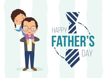 happy fathers day man carrying her daughter vector illustration