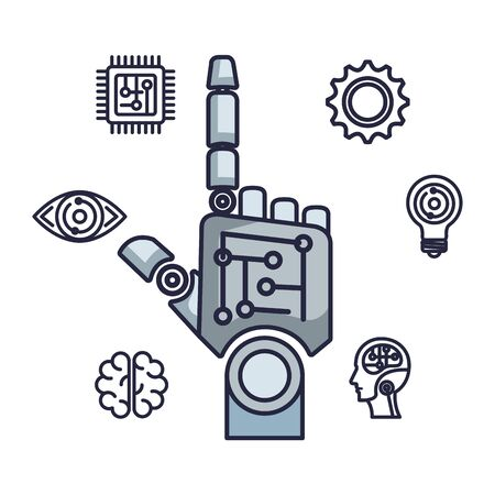 robotic hand index with set icons vector illustration design