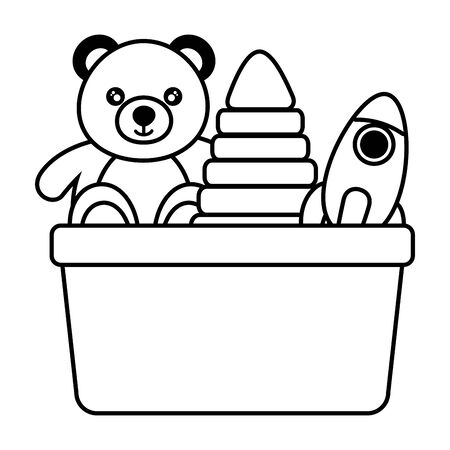 juguetes para niños oso cohete y pirámide en la ilustración de vector de cubo Ilustración de vector