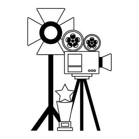 projector light stand award cinema movie vector illustration