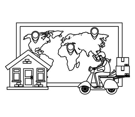 worker of delivery service in motorcycle with house and map vector illustration