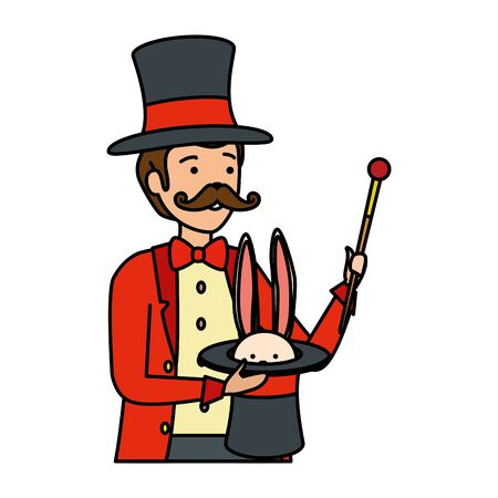 circus magician with hat and rabbit vector illustration design