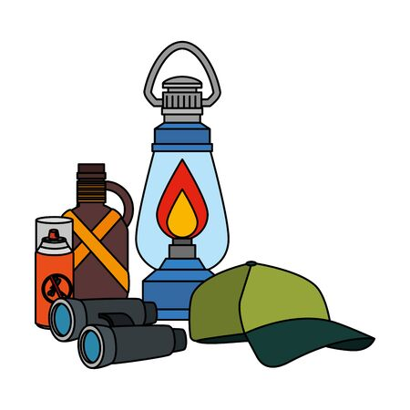 kerosene lantern with camping accessories vector illustration design Foto de archivo - 129309845
