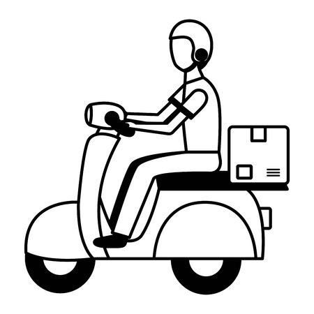 man in motrocycle fast delivery vector illustration
