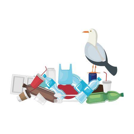 Gaviota con productos de plástico y desechables, diseño de ilustraciones vectoriales